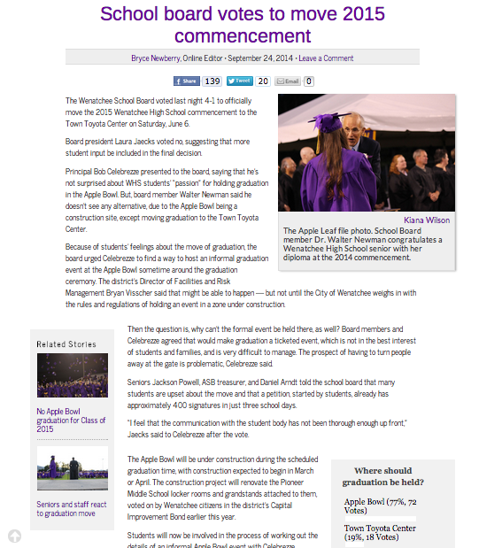 The photo used was a file photo, which was helpful to have on hand and bring back the feeling of graduation to readers.