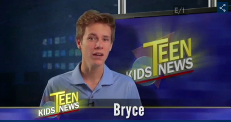 Photo from first appearance on Teen Kids News television program. Air date Dec. 18, 2014.  Photo property of TKN.