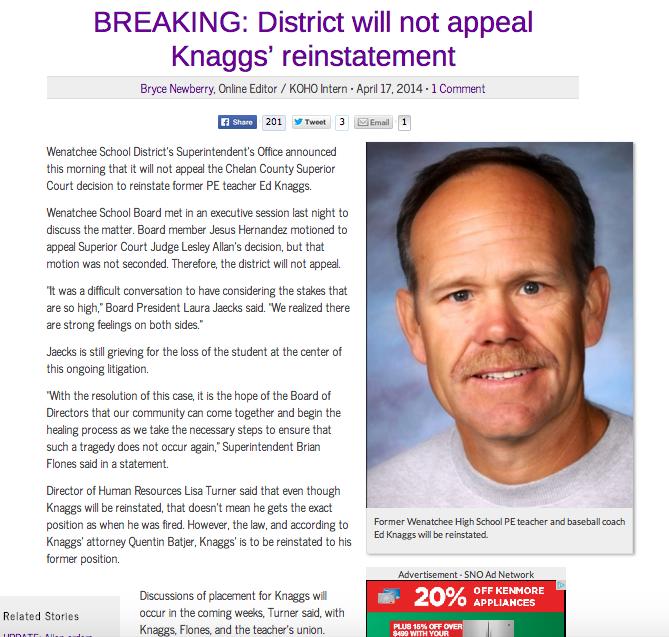 Story broke April 17, 2014